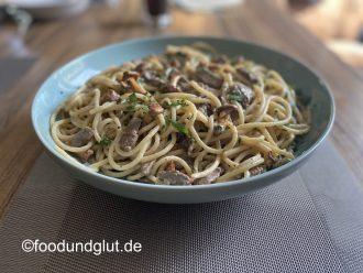 Spaghettone mit Rinderfilet und Pfifferlingen